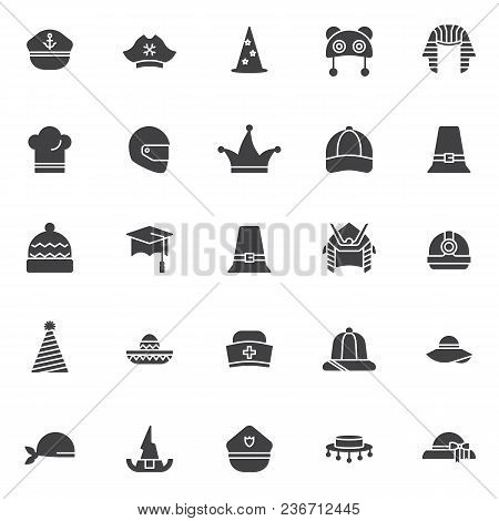 Headdress Vector Icons Set, Modern Solid Symbol Collection, Filled Style Pictogram Pack. Signs Logo