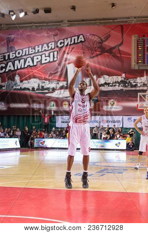 Samara, Russia - December 07: Bc Krasnye Krylia Forward Demetris Nichols #8 Shoots A Free Throw Duri