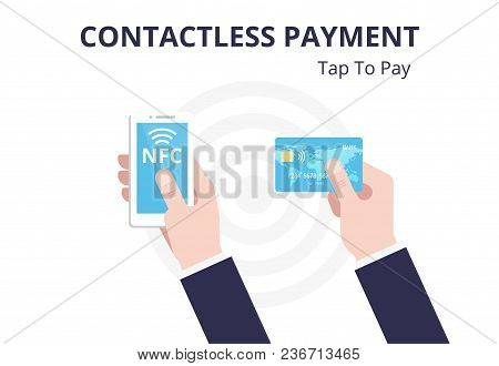 Contactless Payment With Smartphone, Credit Card, Pos Terminal Vector Flat Illustration. Nfc Concept