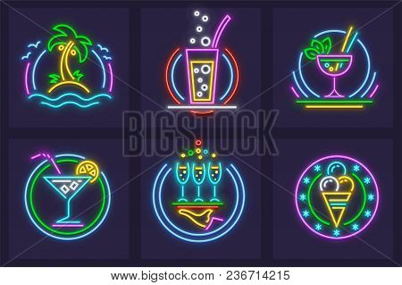 Set Of Neon Icons. Beach Cocktails Tequila, Wine, And Mojito In Glass Goblets, Ice Cream, Palms And