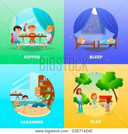 Kindergarten Characters Design Concept With Educator And Kids During Learning, Supper, Play, Sleep I