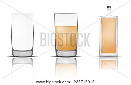 Whisky Bottle Glass Icons Set. Realistic Illustration Of 16 Whisky Bottle Glass Vector Icons For Web