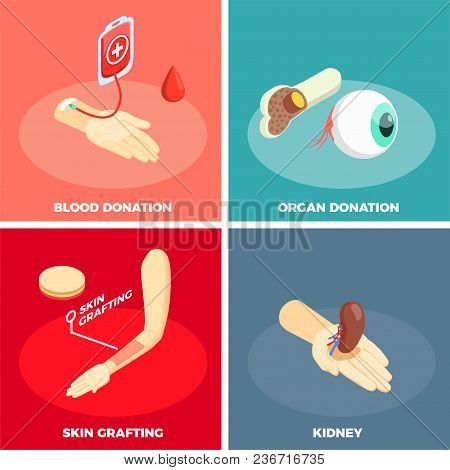 Transplantation 2x2 Design Concept With Organ Donation Skin Grafting And Blood Donation Square Icons