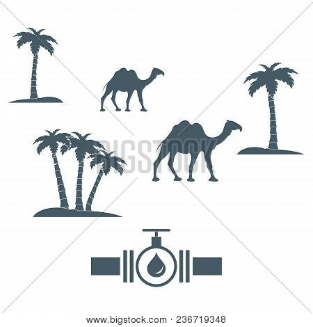 Stylized Icon Of The Pipe With A Valve And Fuel Drops On A White Background With Palm Trees And Came