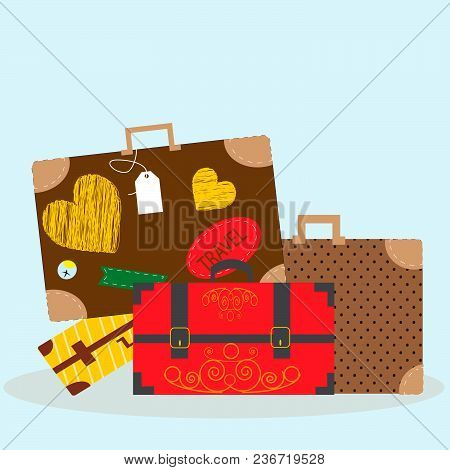 Vector Illustration With Luggage - Bags And Suitcases.
