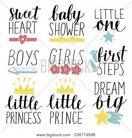 Set Of 9 Children Logo With Handwriting Little Prince, Princess, Boys, Girls, Sweet Heart, Baby Show
