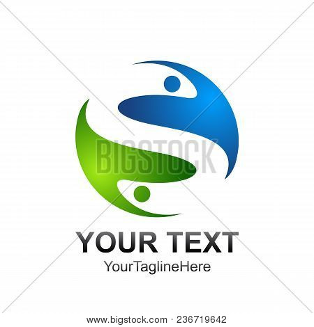 Letter S Logo Design Template Colored Blue Green Yin Yang Design For Business And Company Identity.