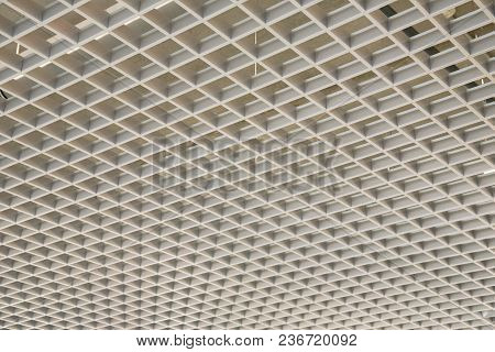 Smooth Beautiful White Trellis Ceiling In The Room As A Background