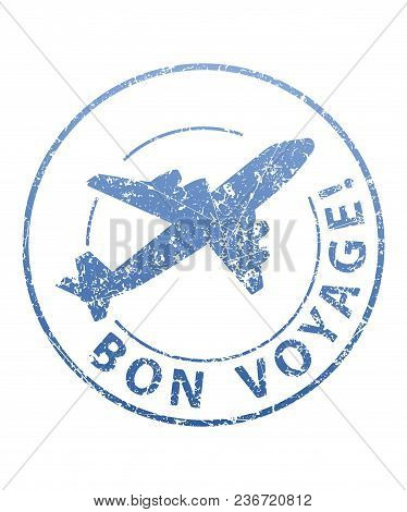 Bon Voyage Blue Grunge Rubber Stamp With Airplane.