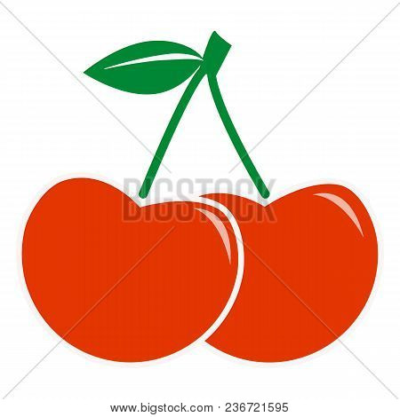 Cherry Icon On White Background. Flat Style. Sweet Cherries. Cherry Sign.