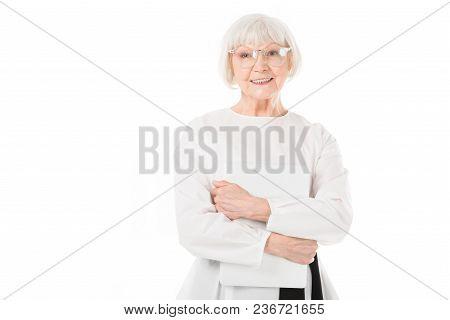 Senior Stylish Businesswoman In Eyeglasses Holding Laptop Isolated On White