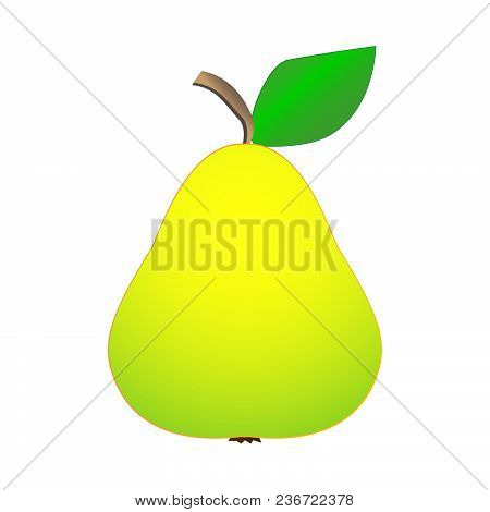 A Delicious Tasty Fresh Ripe Pear On A White Background