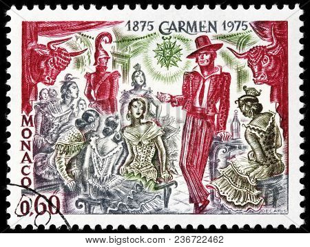 Luga, Russia - March 17, 2018: A Stamp Printed By Monaco Shows Scene From Georges Bizet Opera Carmen