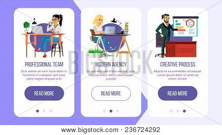 Web Page Banners Design Vector. Business Concept. Working Team. Cartoon People. Cloud Room. Illustra