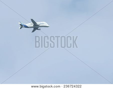 Wrexham, Uk - May 23, 2015: Airbus Super Transporter Beluga 1. Outsized Cargo Carrying Plane With Di