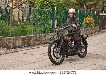 San Pietro In Trento, Ravenna, Italy - April 13, 2018: Rider On A Vintage English Motorcycle Lea-fra
