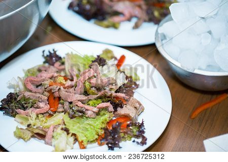 Warm Salad With Beef Warm Salad With Beef On The Table At Reception