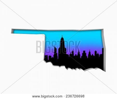 Oklahoma OK Skyline City Metropolitan Area Nightlife 3d Illustration