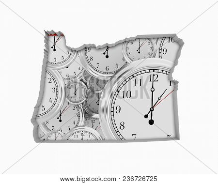 Oregon OR Clock Time Passing Forward Future 3d Illustration