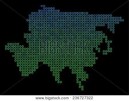 Dotted Gradient Asia Map. Vector Territorial Map In Green And Blue Gradiented Color Tinges On A Blac