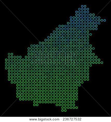 Dotted Gradient Borneo Island Map. Vector Geographic Map In Green And Blue Gradiented Color Tints On