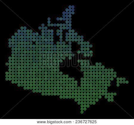 Dotted Gradient Canada Map. Vector Territory Map In Green And Blue Gradiented Color Tints On A Black