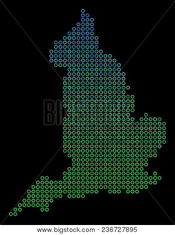 Dotted Gradient England Map. Vector Geographic Map In Green And Blue Gradiented Color Hues On A Blac