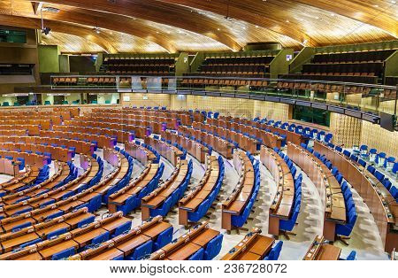 Strasbourg, France - April 13, 2018: The Hemicycle Of The Parliamentary Assembly Of The Council Of E