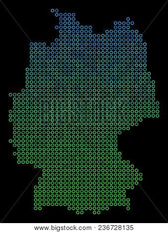 Dotted Gradient Germany Map. Vector Geographical Map In Green And Blue Gradiented Color Tones On A B