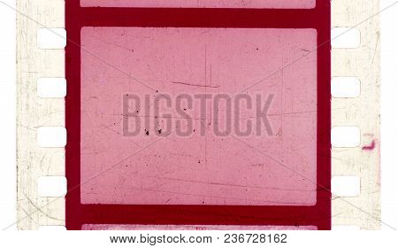 Film Strip Template With Frames, Empty Color Positive 135 Type (35mm) With Scratches And Cracks Isol
