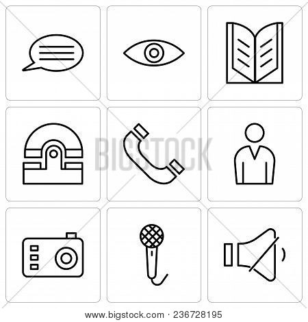 Set Of 9 Simple Editable Icons Such As Volume Control, Voice Recorder, Photo Camera, Male Avatar, He