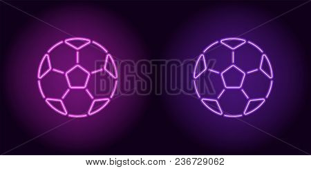Neon Football Ball In Purple And Violet Color. Vector Illustration Of Soccer Ball Consisting Of Outl