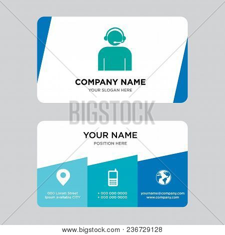 Call Center Worker With Headset Business Card Design Template, Visiting For Your Company, Modern Cre
