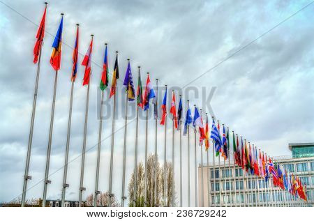 Flags Of The Member States At The Headquarters Of The Council Of Europe In Strasbourg, France