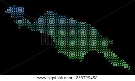 Dotted Gradient New Guinea Island Map. Vector Geographical Map In Green And Blue Gradiented Color Sh