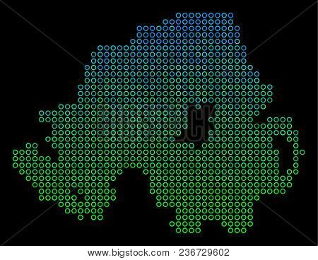 Dotted Gradient Northern Ireland Map. Vector Geographical Map In Green And Blue Gradiented Color Ton