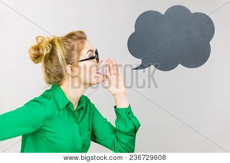 Business Woman Wearing Green Shirt And Eyeglasses Yelling Telling Something Someone, Black Thinking