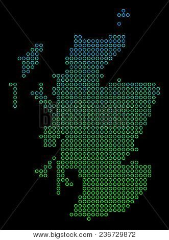 Dotted Gradient Scotland Map. Vector Geographical Map In Green And Blue Gradiented Color Hues On A B