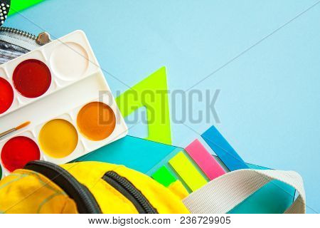 School Fees, Colorful Pencils Scissors On Blue Background, Space For Text, Flat Lay, Back To School