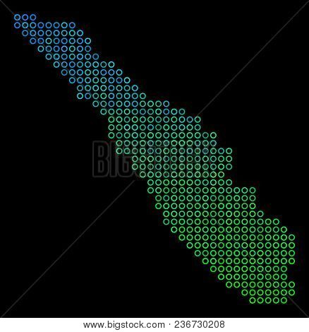 Dotted Gradient Sumatra Island Map. Vector Geographical Map In Green And Blue Gradiented Color Tinge