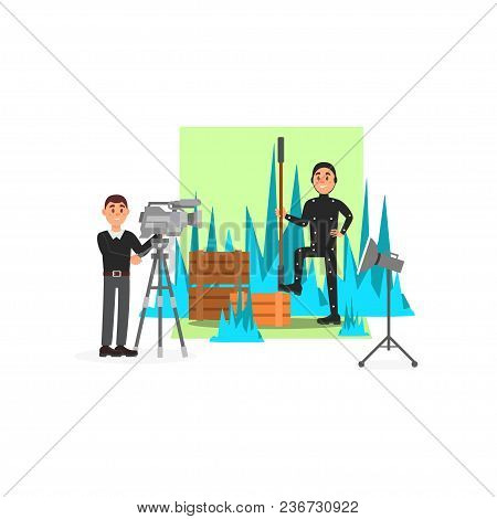 Cameraman And Actor Working On The Film, Entertainment Industry, Movie Making Vector Illustration, W