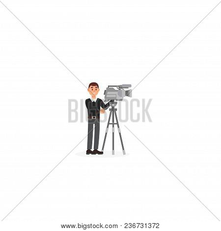 Cameraman, Entertainment Industry, Movie Making Vector Illustration Isolated On A White Background.