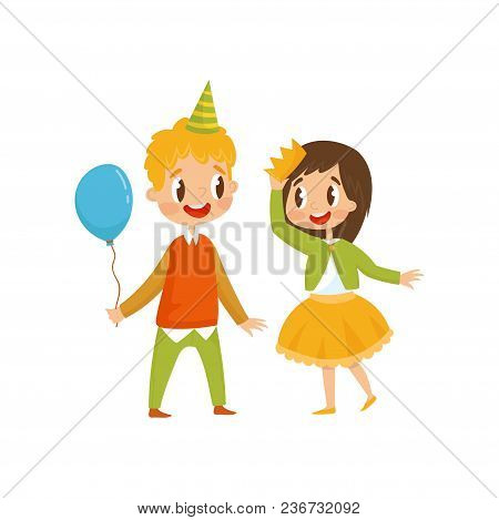 Cute Girl And Boy At Birthday Party, Boy In Party Hat Holding Balloon Cartoon Vector Illustration Is
