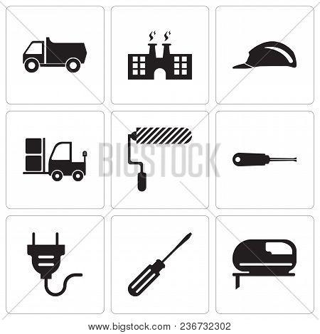 Set Of 9 Simple Editable Icons Such As Jigsaw, Screwdriver, Electrical Plug, Turn-screw, Roller, Tru