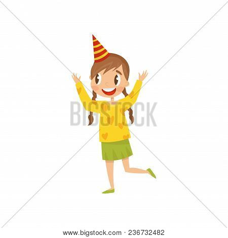 Beautiful Girl In Party Hat Having Fun At Birthday Party Cartoon Vector Illustration Isolated On A W