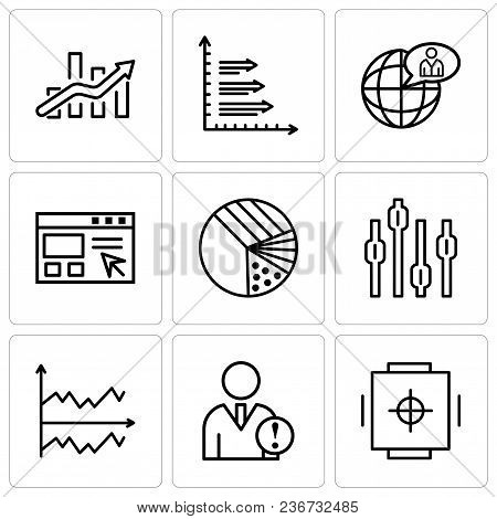 Set Of 9 Simple Editable Icons Such As Safe Box, Data Analytics, Chart, Box Plot Chart, Pie Graphic