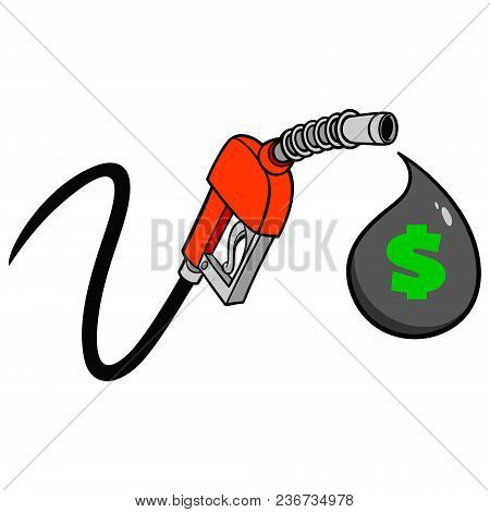 Gas Pump Price Drop - A Vector Cartoon Illustration Of A Gas Pump Concept.