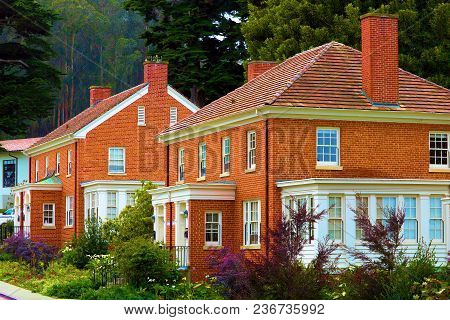 Historic Refurbished Brick Row Homes Surrounded By Lush Gardens Taken At The Presidio Which Is A His