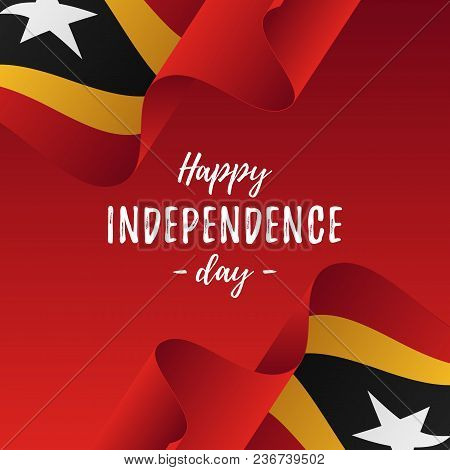 Banner Or Poster Of East Timor Independence Day Celebration. East Timor Flag. Vector Illustration.