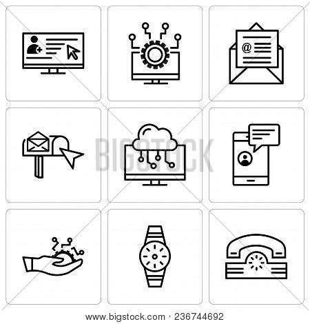 Set Of 9 Simple Editable Icons Such As Telephone, Smartwatch, Development, Chat In Smartphone, Lapto